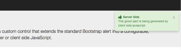 bootAlert let's you add Bootstrap Growl messages